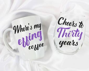 30th birthday - 30th birthday for her - unique birthday gift  - 30th birthday gift for her - Cheeers to thirty years - set of 2
