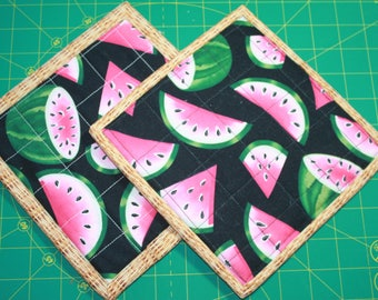 Aquilted potholder watermelon. reversible; insulated