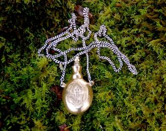 Vintage Brass Perfume Bottle Necklace / Pendant - Poison Bottle Pendant - Silver Chain