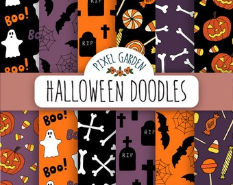 SALE. Halloween Digital Paper. Doodle Halloween Patterns. Hand Drawn Halloween Scrapbooking Paper. Bat, Candy, Ghost, Pumpkin Invitations.