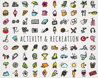 Activity and Recreation Icons Clipart Set - travel nature outdoor food fitness reading gaming sports hobbies clipart icons, instant download