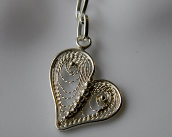 Filigree Heart Pendant, Filigree Heart Necklace, Heart Jewelry, Valentine's Day Jewelery, Silver Heart