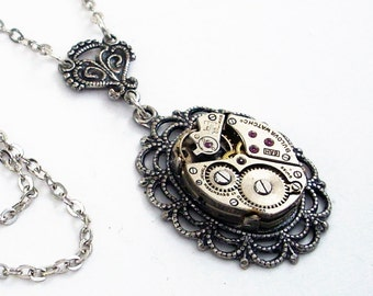 Take Time for Love - Steampunk Necklace Handmade Jewelry