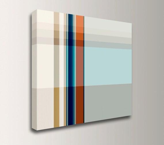 """Geometric Line Art - Canvas Print - Modern Art - Red Blue and Grey Wall Art """" Pass """""""