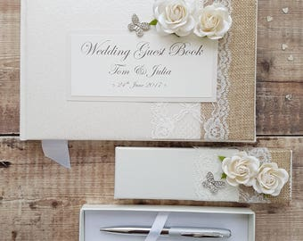Wedding Guest Book and Pen Set - Handmade Hessian, Lace, Rose and Butterfly Design. Wedding Keepsake. Wedding Gift.