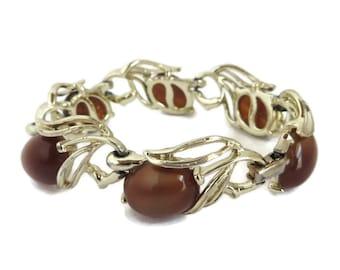 Vintage Lisner Moonglow Bracelet, Gold Tone Brown Moonglow Bracelet, Signed Designer Jewelry