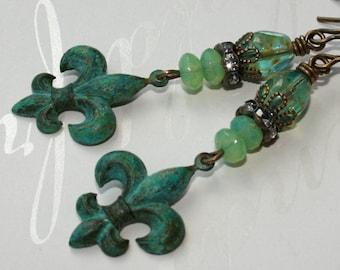 Fleur de lis earrings, Verdigris patina earrings, Patina jewelry