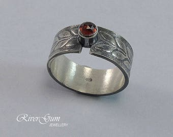 Silver Ring, Garnet Ring, Wide Sterling Silver Ring Band, Gemstone Ring, Size 8.5, Metalwork by RiverGum Jewellery