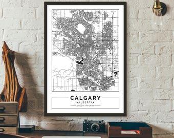 Calgary, Alberta, Canada, City map, Poster, Printable, Print, Street map, Wall art