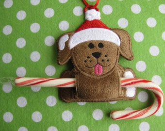 Dog Candy Cane Holder or Gift Tag (Personalized, Monogrammed)