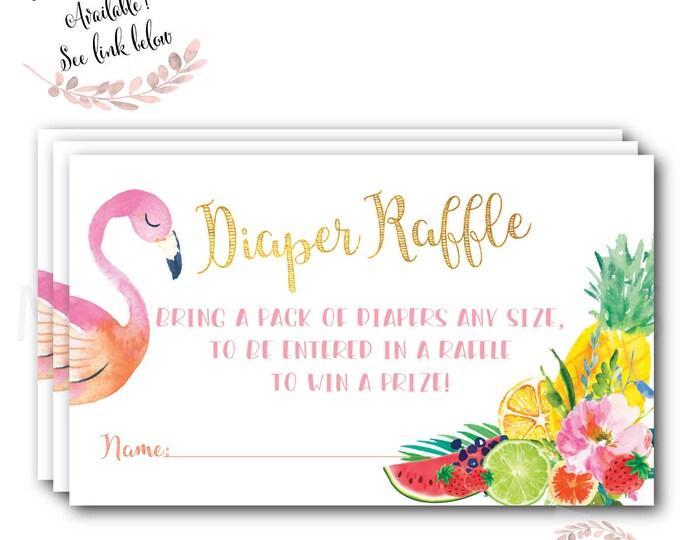 Tutti Fruity Diaper Raffle Ticket // Diaper Raffle // Gold // Flamingo // Fruit // Frutti Baby Shower // Printed //  ARUBA COLLECTION