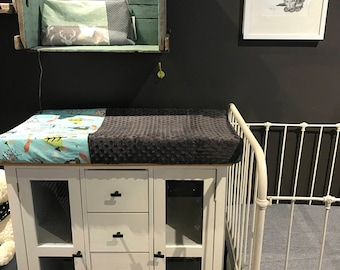 crib sheet for changing mat, animals on blue, grey minky