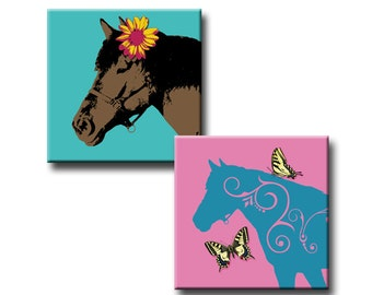 Horses with Flair - 1 inch squares - Digital collage sheet - Instant Download