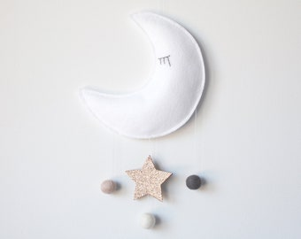 Moon and Star Baby Mobile, Crib Mobile, Nursery Decor, White, Soft Gold, Blush Pink, Gray/Grey