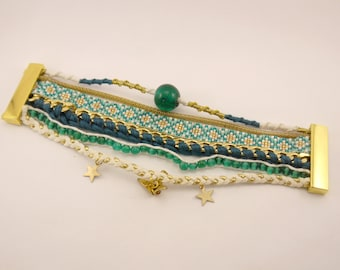 Magnetic cuff friendship bracelet, miyuki beads, chain, braided suede and gold charms