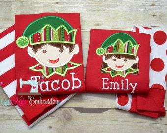 Christmas pajamas elf boy girl kid child baby toddler infant embroidery applique custom monogram name personalized santa train