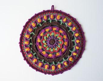 Overlay Crochet Pattern - PDF Crocheted Potholder - Colorful Lace Mandala - instant download