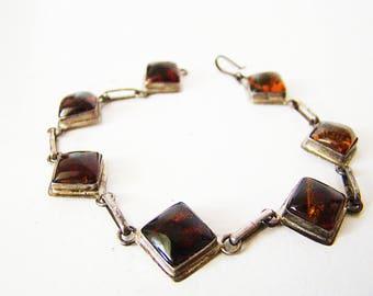 Genuine Amber Bracelet Set In Sterling 7 Triangles Of Genuine Amber