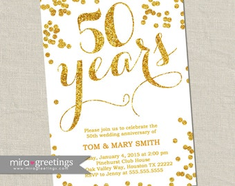 Gold Foil 50th Anniversary Invitation -  Printable Digital File