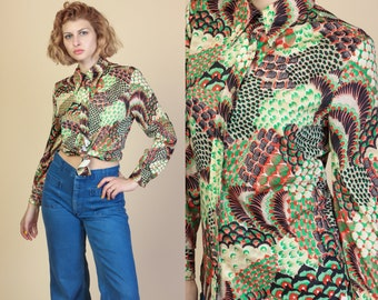 70s Button Up Disco Top -  Medium | Vintage Abstract Pointed Collar Shirt