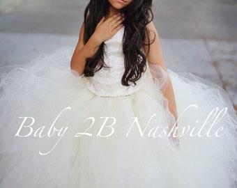 Vintage Dress Ivory Dress Flower Girl Dress Wedding Dress Lace Dress Tulle Dress Party Dress Birthday Dress Toddler Tutu Dress Girls Dress