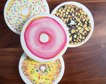 Donut Coasters: Four High-Quality Ceramic Doughnut Coasters with Sprinkles, Peanuts, and Pink (FREE SHIPPING)