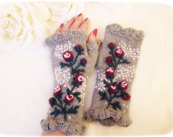 Grey fingerless arm warmers, embroidered  alpaka wool gloves, handknit natural wool gloves, gift for HER