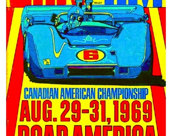 Vintage Reproduction Racing Poster Elkhart Lake Road America Can-Am