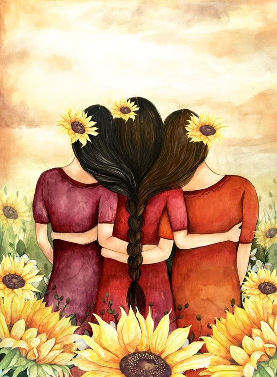 Three sisters best friends  with brown and black hair and sunflowers