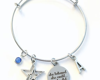She believed she could so she did Jewelry, Charm Bracelet, Gift for Granddaughter, Daughter Honor Roll Student Star Athletic Scholarship her