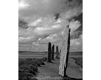 Photography Black and White Standing Stones Scotland Orkney Ancient Dramatic Outlander Dreams Celtic Druid Portal