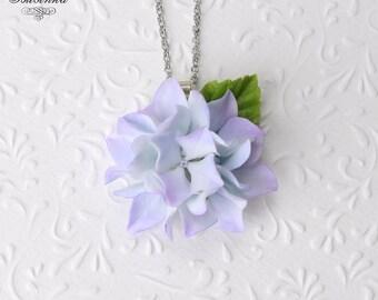 Purple Hydrangea flowers Necklace Hydrangea pendant purple flowers violet Hydrangea jewelry Floral realistic necklace Hydrangea flower gift