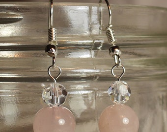 Rose Quartz and Swarovski Crystal Drop Earrings