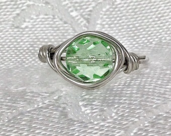 Light Green Silver Beaded Wire Wrapped Ring