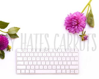 Styled Stock Photography   White Desktop With Keyboard And Flowers   Stock Photo   Product Styling   Product Photography   Digital Image