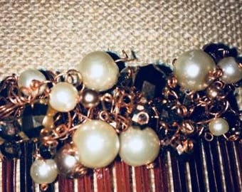 Vintage HairClip with Pearls & Beads