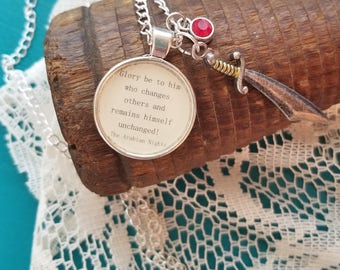 Book Nook, Book Quote Necklace, Quote Necklace, The Arabian Nights Necklace, Remain Unchanged, Literature Necklace, MarjorieMae