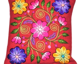 """Pillow Cover Embrodery Floral Design From Ayacucho Peru - 15 1/2"""" x 15 1/2"""" Handmade Wooven in Red  Loom."""