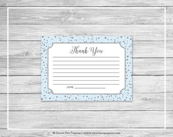Blue and Silver Baby Shower Thank You Cards - Printable Baby Shower Thank You Cards - Blue and Silver Baby Shower - Thank You Cards - SP151