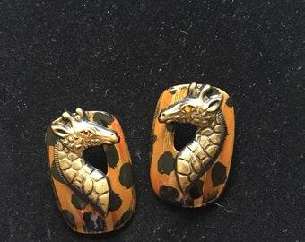 1980s safari girrafe stud hanging earrings
