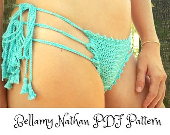 "Crochet Bikini Bottom Pattern, ""Bella""  Crochet Brazilian Style Bottom, Sizes XS to L"