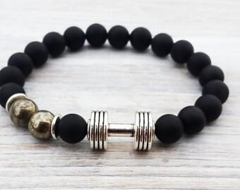 GROUNDING Men Dumbbell  Matte Black Onyx Bracelet Pyrite Bracelet Sportive Men Bracelet Dumbbell Bracelet Gemstone Bracelet Mens Gifts
