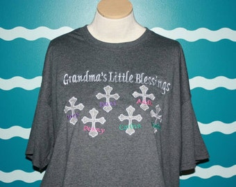 Grandparent embroidered tshirt - grandma barging tshirt - Nanan's blessings - grandparent blessing tshirt - custom embroidery shirt