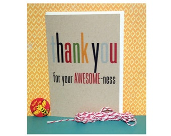 Thank You Note Cards - Thank You Awesomeness - Thank You Set - Thank You Notes - Kraft Cards - Kraft Thank You Notes
