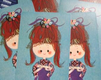 6 Lil Kimono Girl Vintage Playing Cards