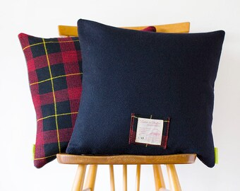 Navy Blue Pillow, Plaid Pillow Navy Wool Tartan Cushion, Fathers Day Gift Unusual Gift For Him, Gifts For Men Vintage 1960s Gannex Yorkshire