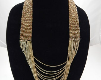 Vintage Beaded Mesh Chain Necklace