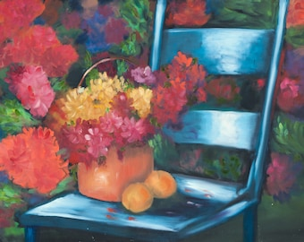 Flowers and Oranges on a Chair