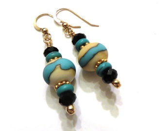 Ivory & Turquoise Lampwork Earrings With Black Swarovski Crystals, Turquoise Earrings, Ivory Earrings, Black Earrings, Lampwork Jewelry