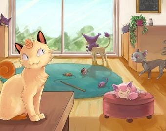 Pokemon Cat Cafe | pokemon poster, pokemon print, nintendo poster, video game poster, pokemon art, anime poster, gamer decor